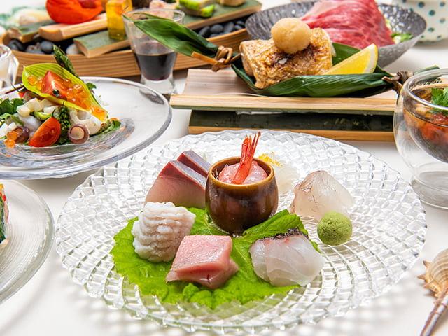 A4村上牛の陶板焼き、日本海の姿盛りやのどぐろも堪能する贅沢プラン。お料理重視の方へおすすめです。